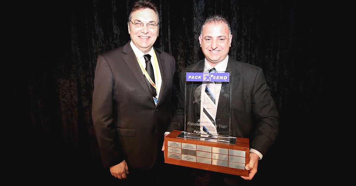 PACK & SEND CEO Maicla Paul with 2016 Franchisee of the Year, Davide Scicluna